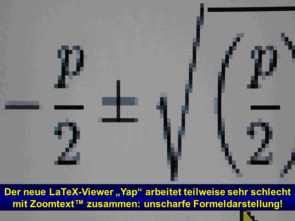 """Der neue LaTeX-Viewer """"Yap arbeitet teilweise sehr schlecht mit Zoomtext™ zusammen: unscharfe Formeldarstellung!"""