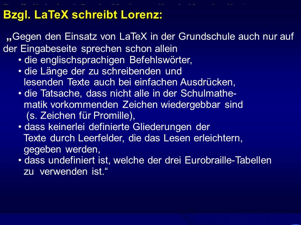 Bzgl. LaTeX schreibt Lorenz: