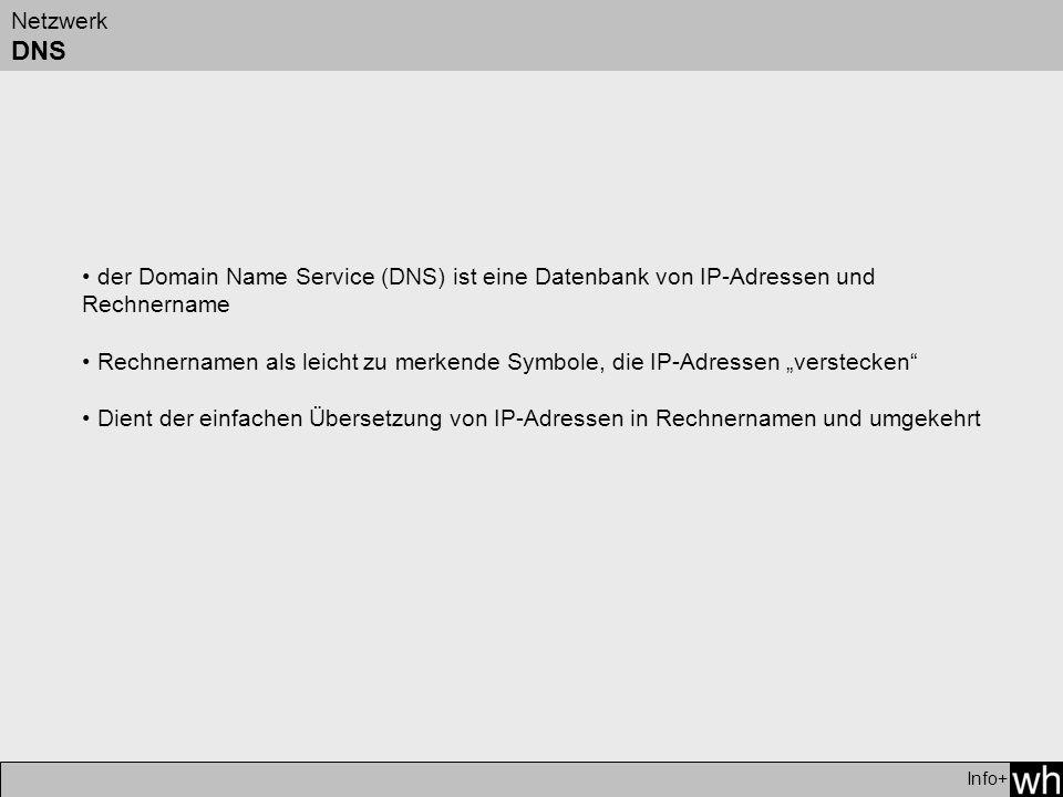 Netzwerk DNS der Domain Name Service (DNS) ist eine Datenbank von IP-Adressen und Rechnername.