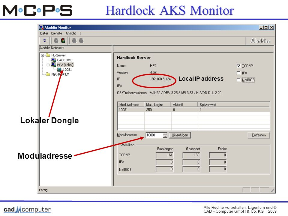 Hardlock AKS Monitor Local IP address Lokaler Dongle Moduladresse