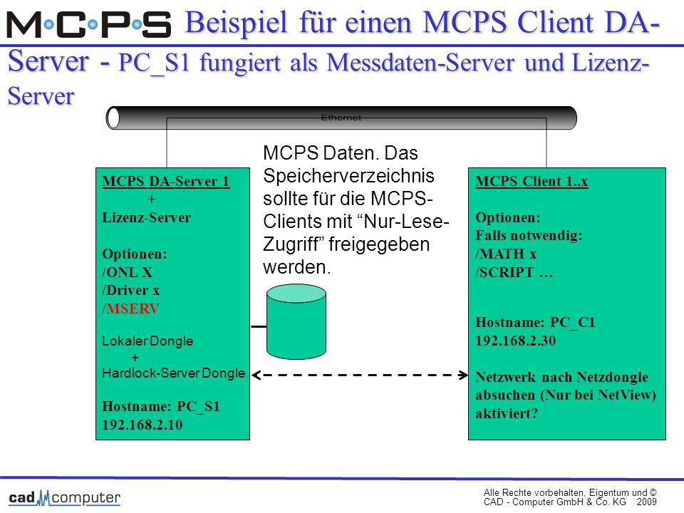 Beispiel für einen MCPS Client DA-Server - PC_S1 fungiert als Messdaten-Server und Lizenz-Server
