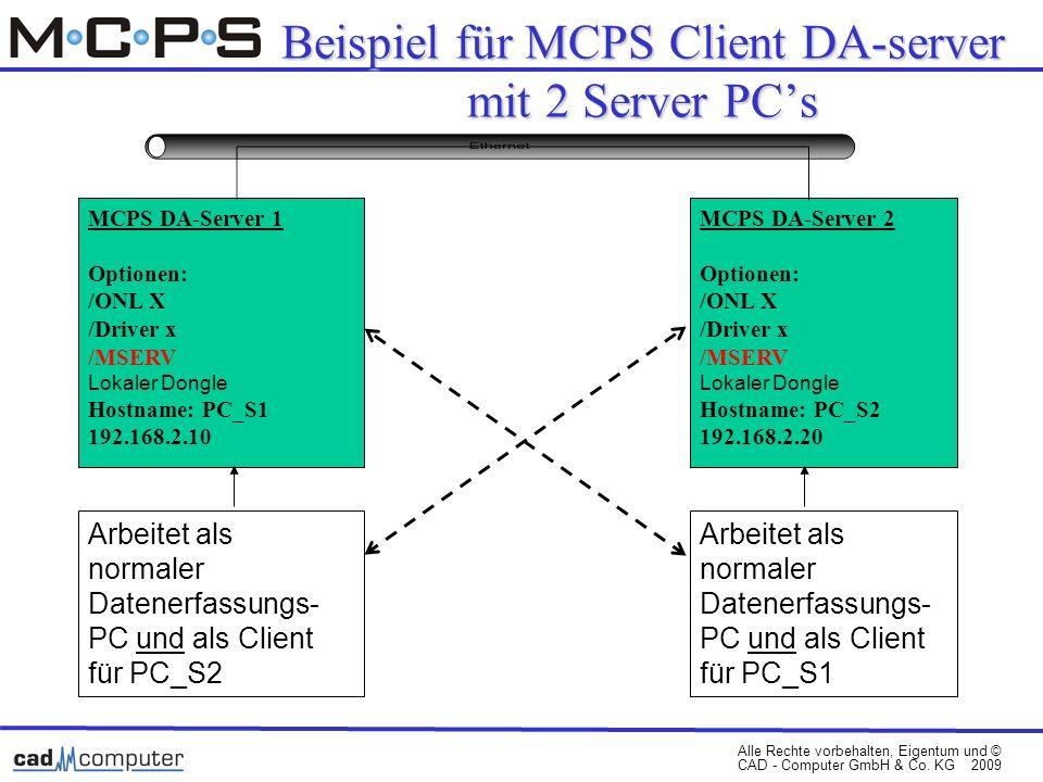 Beispiel für MCPS Client DA-server mit 2 Server PC's