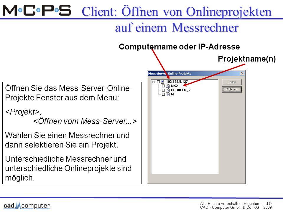 Client: Öffnen von Onlineprojekten auf einem Messrechner