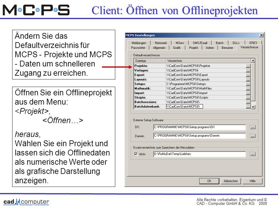 Client: Öffnen von Offlineprojekten