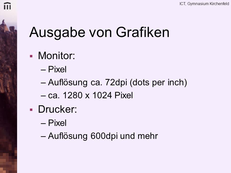 Ausgabe von Grafiken Monitor: Drucker: Pixel