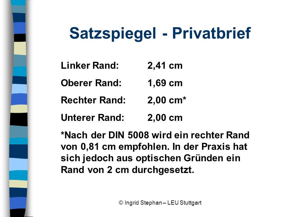 Satzspiegel - Privatbrief