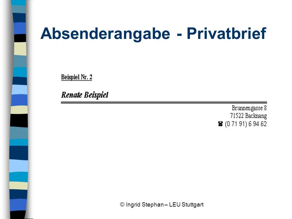 Absenderangabe - Privatbrief