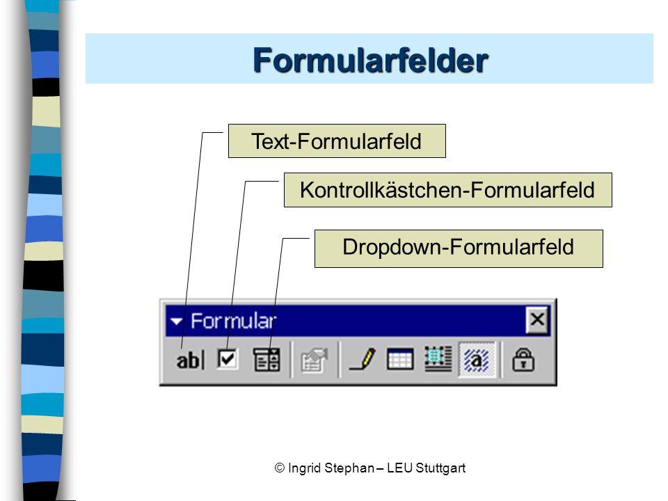 Formularfelder Text-Formularfeld Kontrollkästchen-Formularfeld