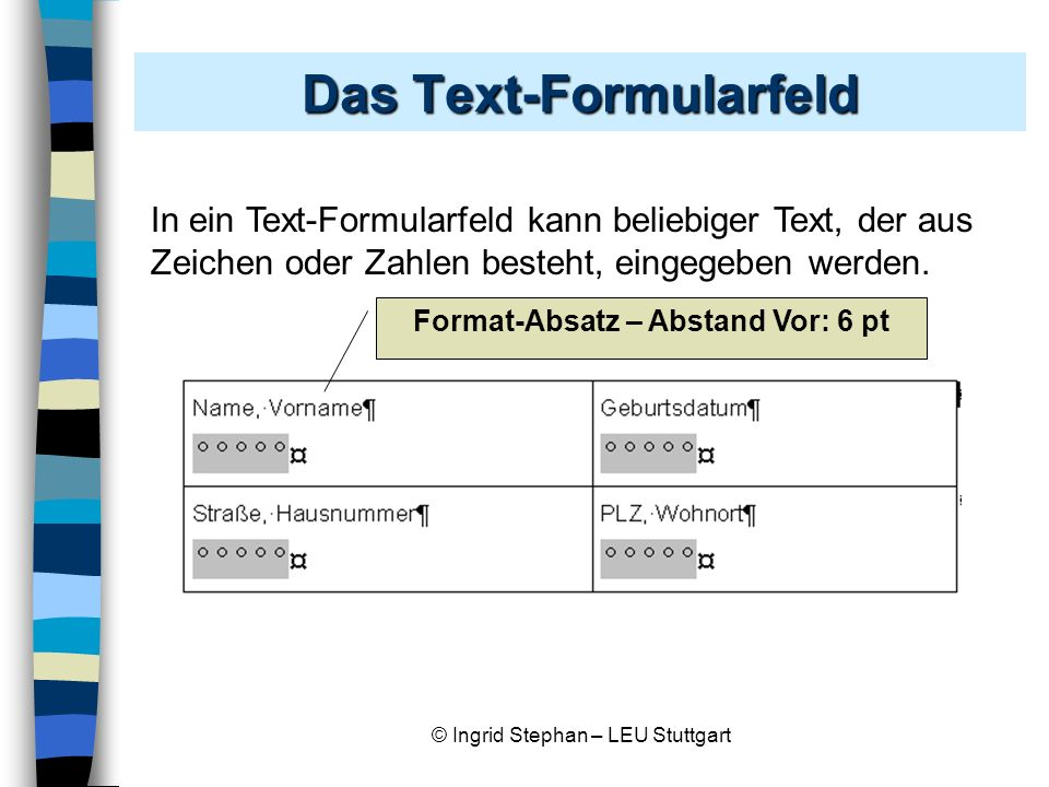 Das Text-Formularfeld