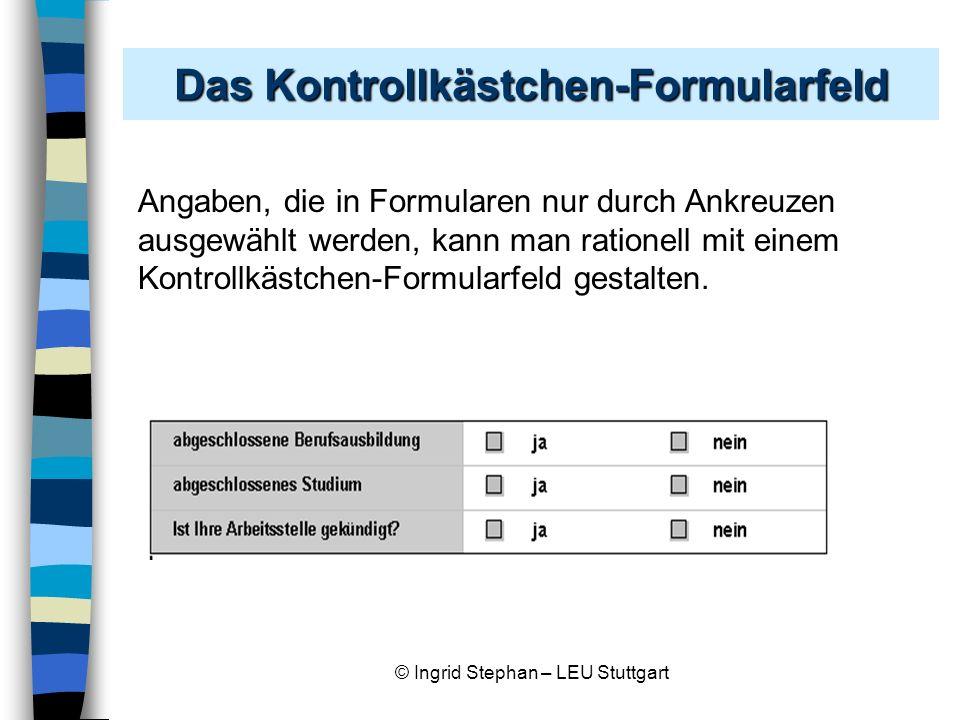 Das Kontrollkästchen-Formularfeld
