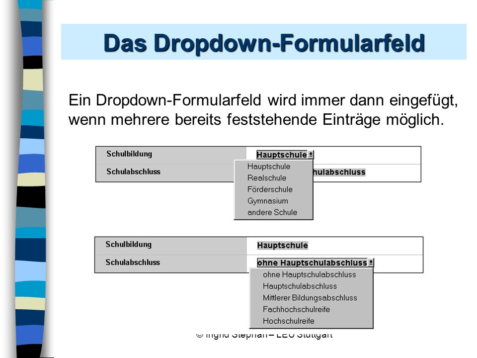Das Dropdown-Formularfeld