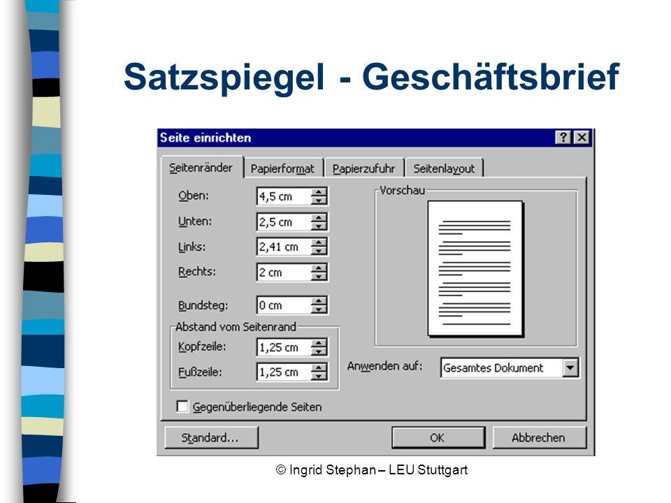 Satzspiegel - Geschäftsbrief