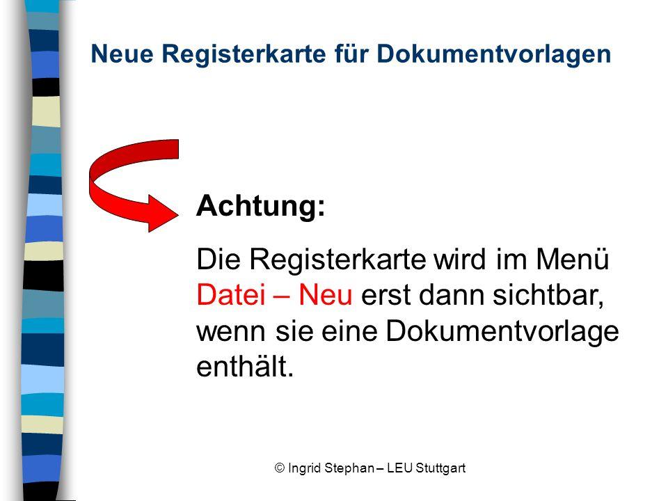 Neue Registerkarte für Dokumentvorlagen
