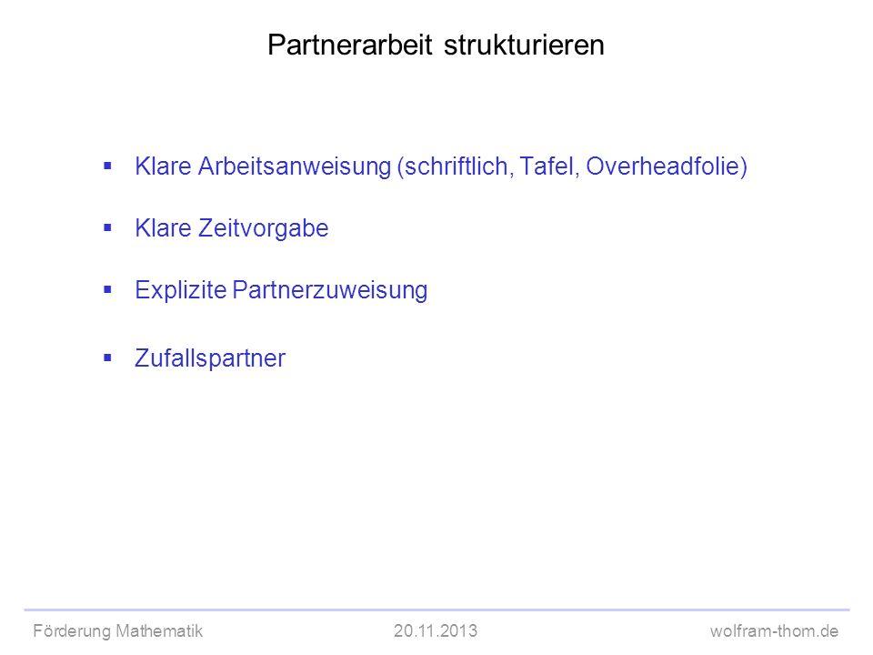 Partnerarbeit strukturieren