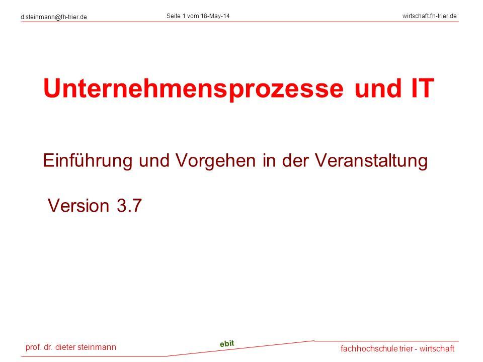 Unternehmensprozesse und IT Einführung und Vorgehen in der Veranstaltung Version 3.7
