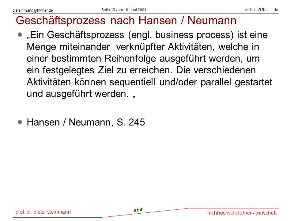 Geschäftsprozess nach Hansen / Neumann