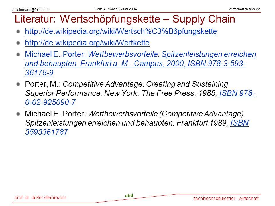 Literatur: Wertschöpfungskette – Supply Chain