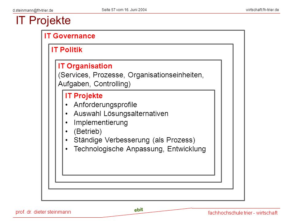 IT Projekte IT Governance IT Politik