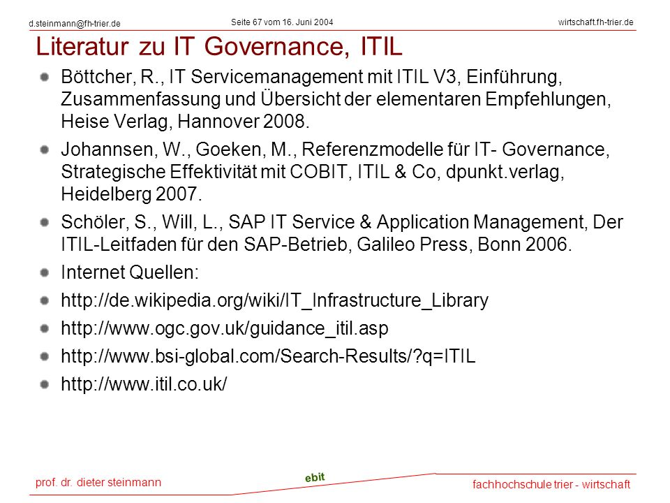 Literatur zu IT Governance, ITIL
