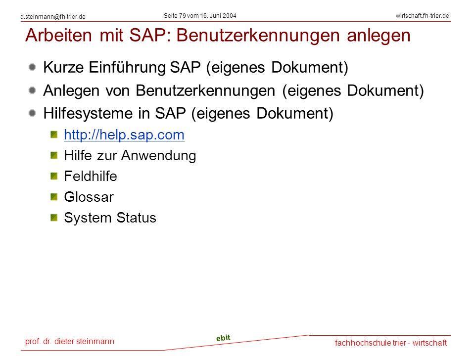 Arbeiten mit SAP: Benutzerkennungen anlegen