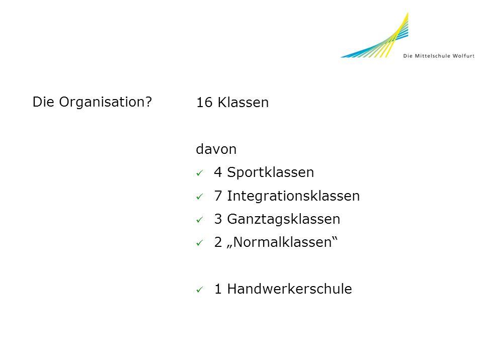 """Die Organisation 16 Klassen. davon. 4 Sportklassen. 7 Integrationsklassen. 3 Ganztagsklassen. 2 """"Normalklassen"""