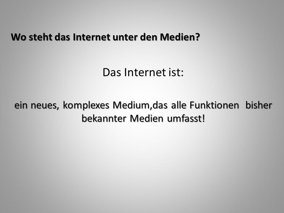 Das Internet ist: Wo steht das Internet unter den Medien