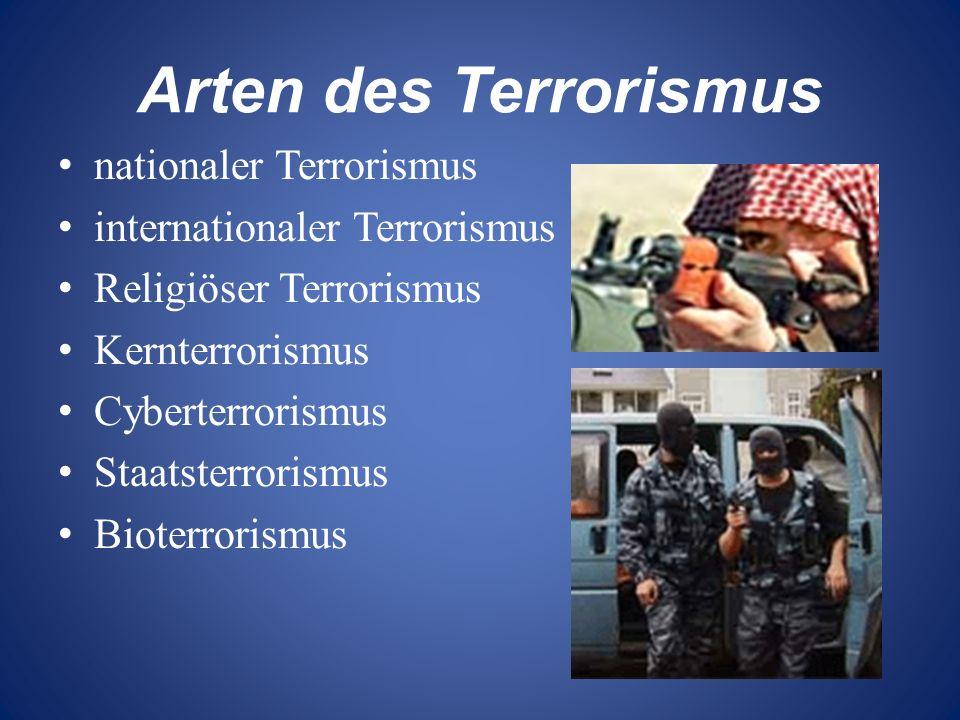 Arten des Terrorismus nationaler Terrorismus