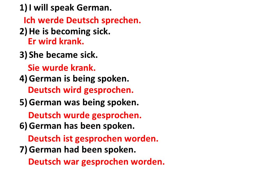 I will speak German. He is becoming sick. She became sick. German is being spoken. German was being spoken.