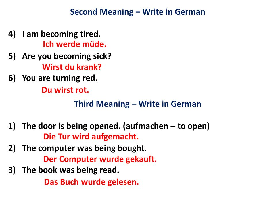 Second Meaning – Write in German Third Meaning – Write in German
