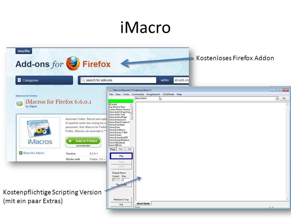 iMacro Kostenloses Firefox Addon Kostenpflichtige Scripting Version