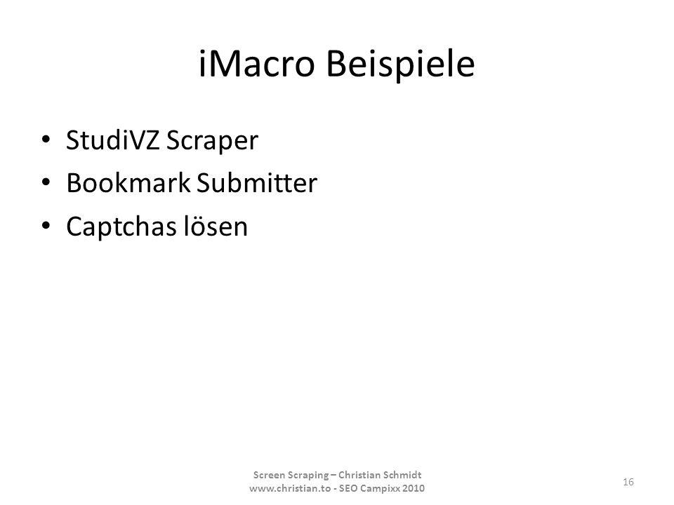 iMacro Beispiele StudiVZ Scraper Bookmark Submitter Captchas lösen