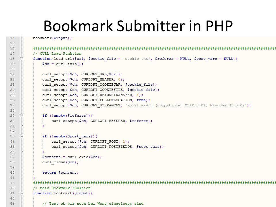 Bookmark Submitter in PHP