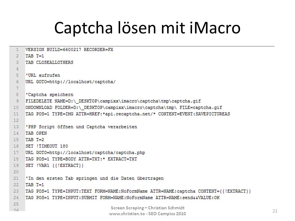 Captcha lösen mit iMacro