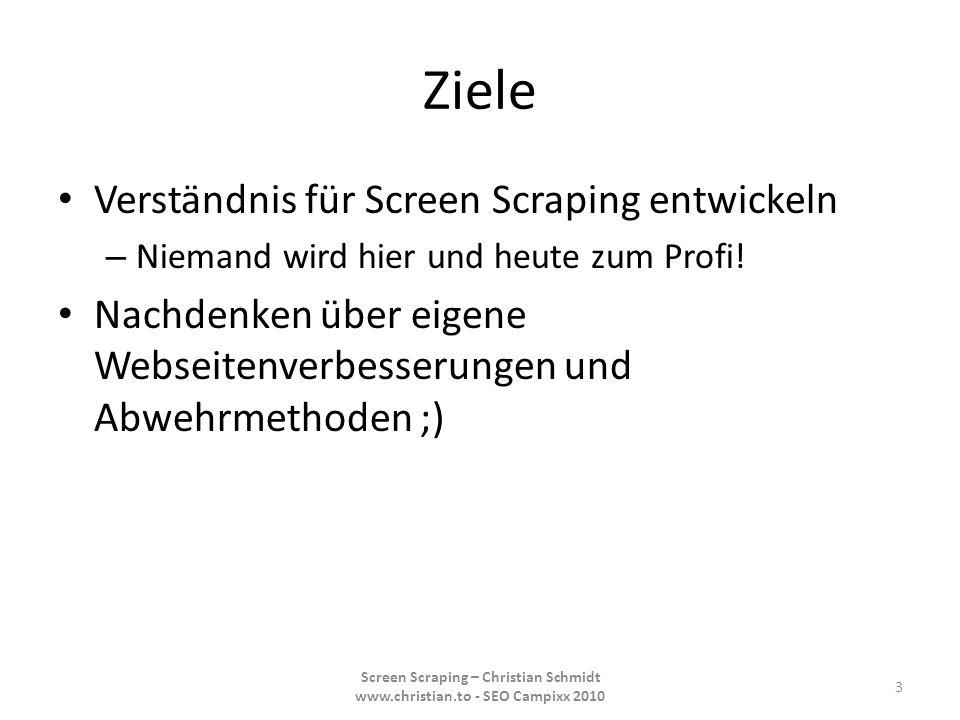 Ziele Verständnis für Screen Scraping entwickeln