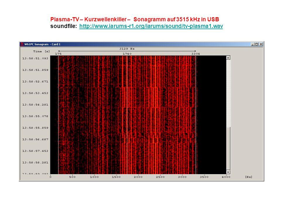 Plasma-TV – Kurzwellenkiller – Sonagramm auf 3515 kHz in USB