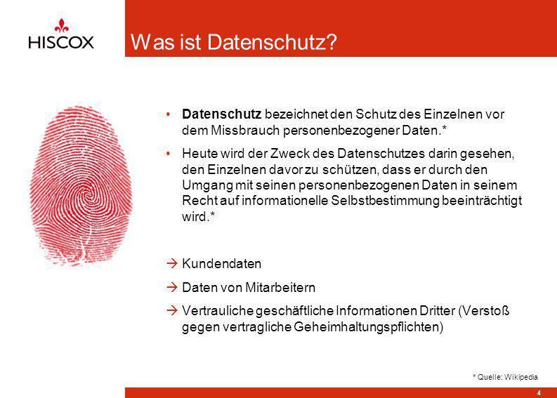 Was ist Datenschutz Datenschutz bezeichnet den Schutz des Einzelnen vor dem Missbrauch personenbezogener Daten.*