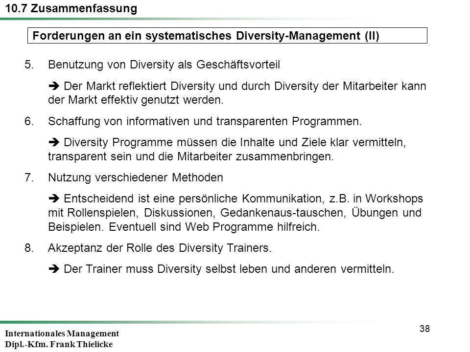 10.7 Zusammenfassung Forderungen an ein systematisches Diversity-Management (II) 5. Benutzung von Diversity als Geschäftsvorteil.