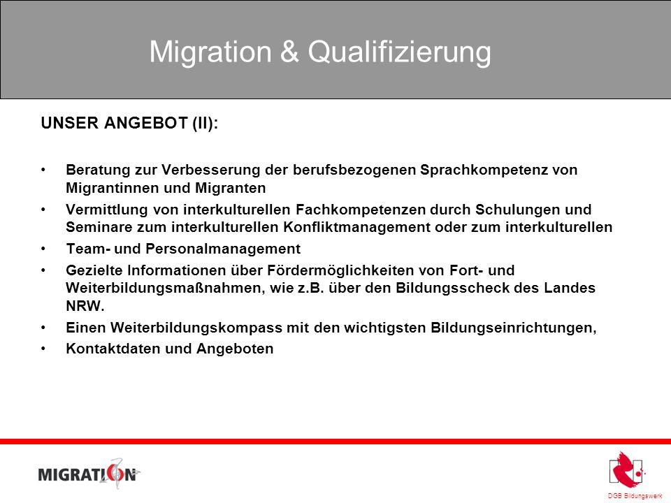 UNSER ANGEBOT (II): Beratung zur Verbesserung der berufsbezogenen Sprachkompetenz von Migrantinnen und Migranten.