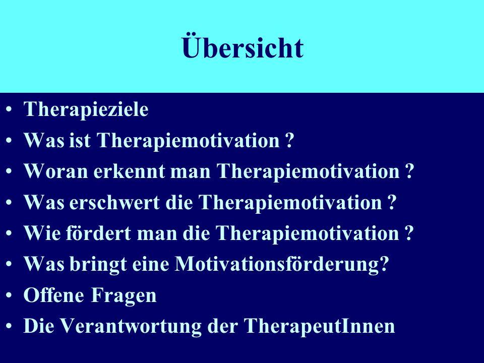 Übersicht Therapieziele Was ist Therapiemotivation
