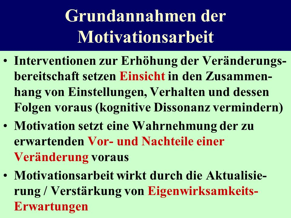 Grundannahmen der Motivationsarbeit