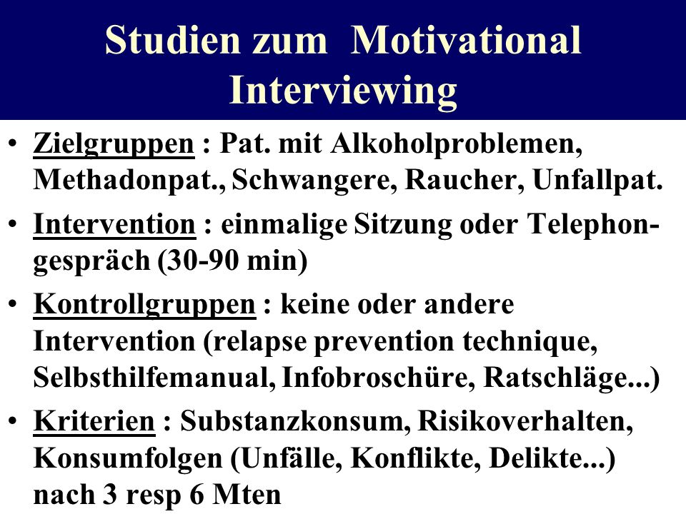 Studien zum Motivational Interviewing