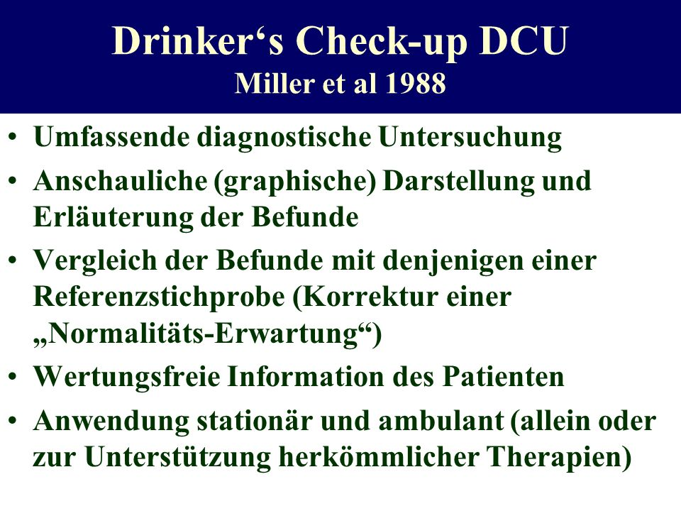 Drinker's Check-up DCU Miller et al 1988