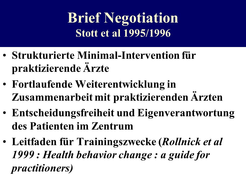 Brief Negotiation Stott et al 1995/1996