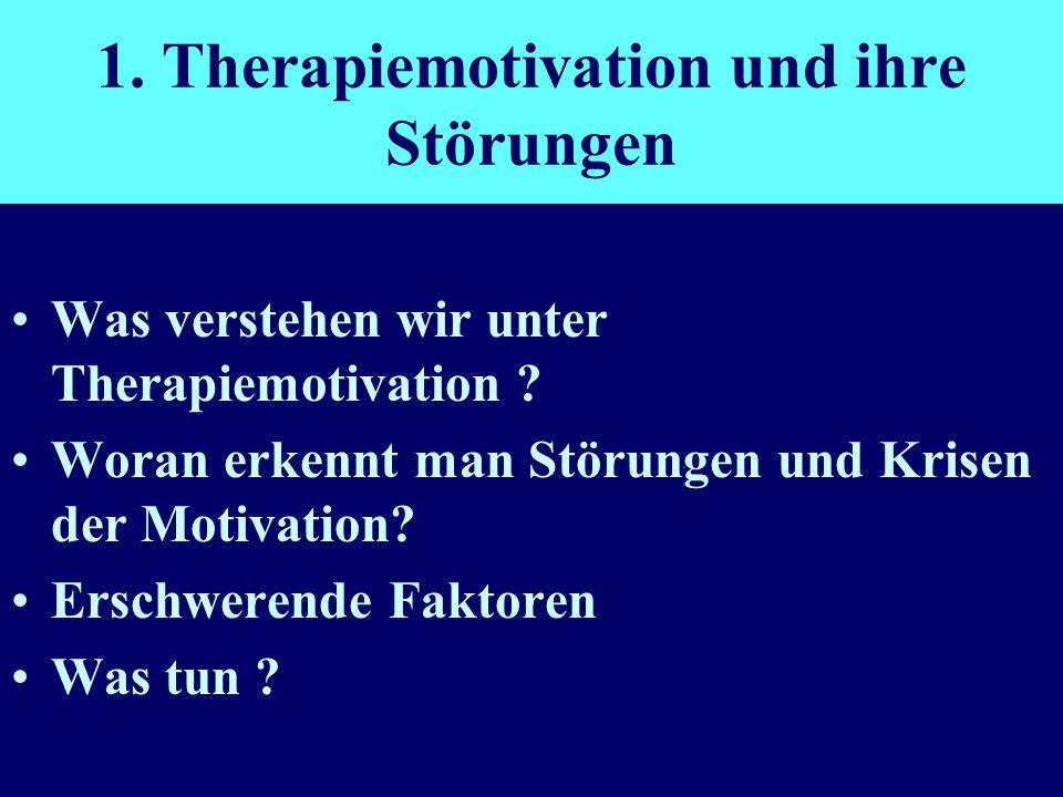 1. Therapiemotivation und ihre Störungen