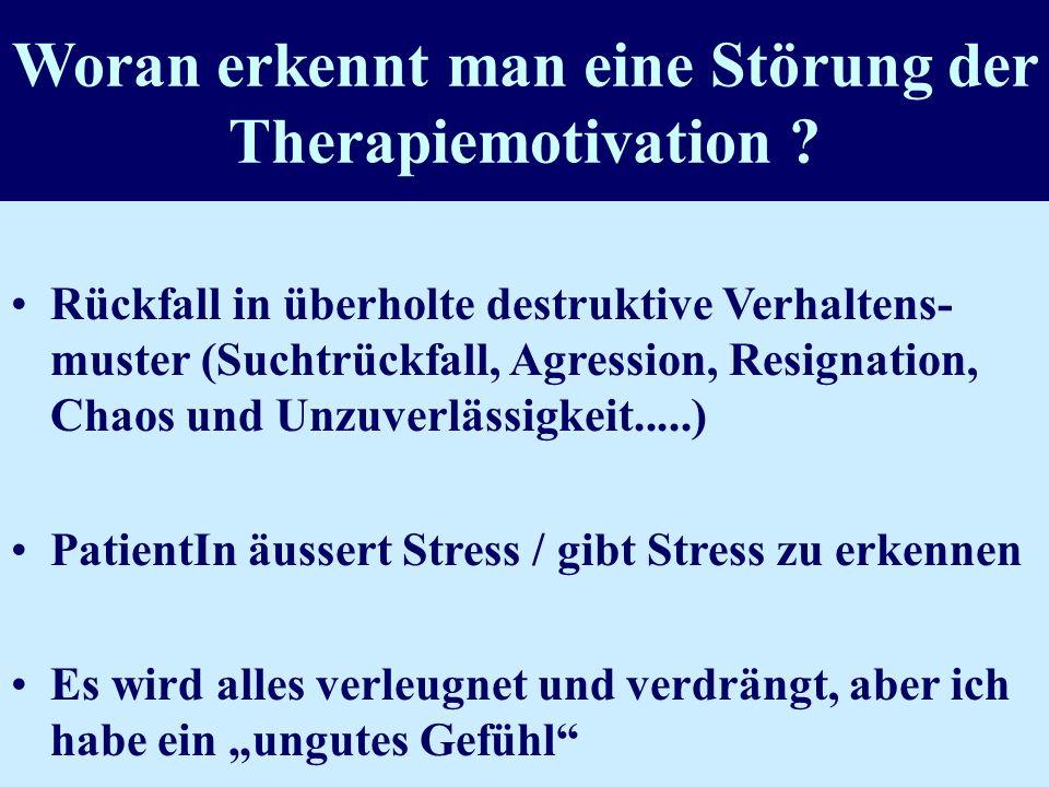Woran erkennt man eine Störung der Therapiemotivation
