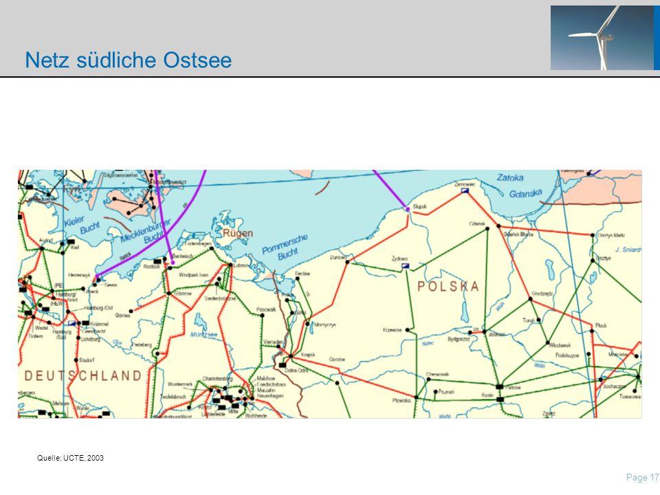 Netz südliche Ostsee Quelle: UCTE, 2003