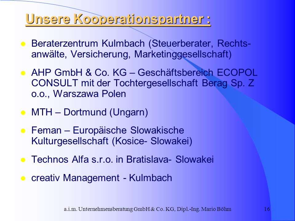 Unsere Kooperationspartner :