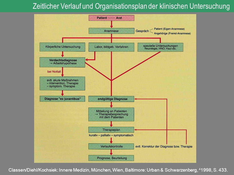 Zeitlicher Verlauf und Organisationsplan der klinischen Untersuchung