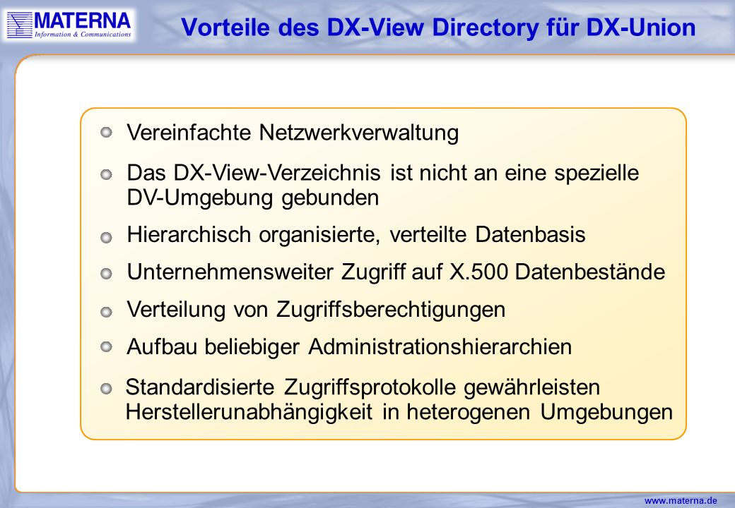 Vorteile des DX-View Directory für DX-Union