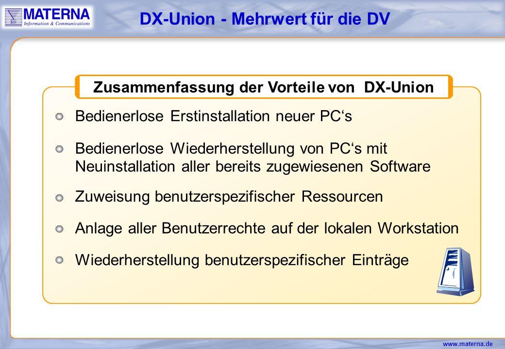 Zusammenfassung der Vorteile von DX-Union